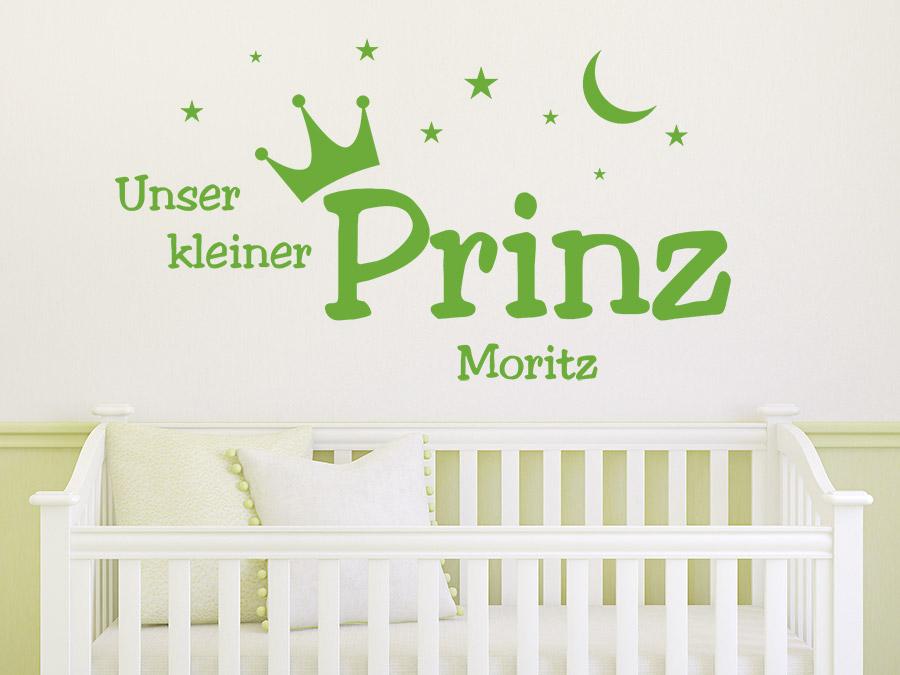 Wandtattoo unser kleiner prinz mit name f r das - Baby jungenzimmer ...