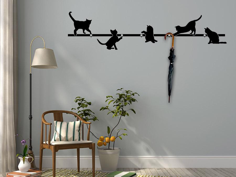 wandtattoo garderobe katzen wandtattoo de. Black Bedroom Furniture Sets. Home Design Ideas