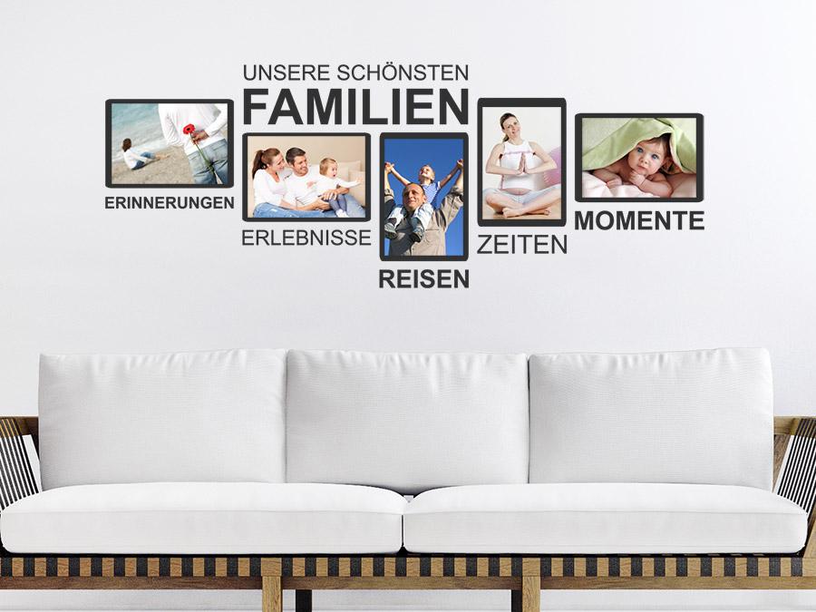 Wandtattoo Garderobe Familie mit Fotorahmen | WANDTATTOO.DE