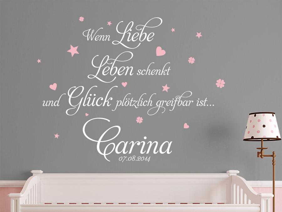 Babyzimmer weiß grau rosa  Wandtattoo Wenn Liebe Leben schenkt... von Wandtattoo.de