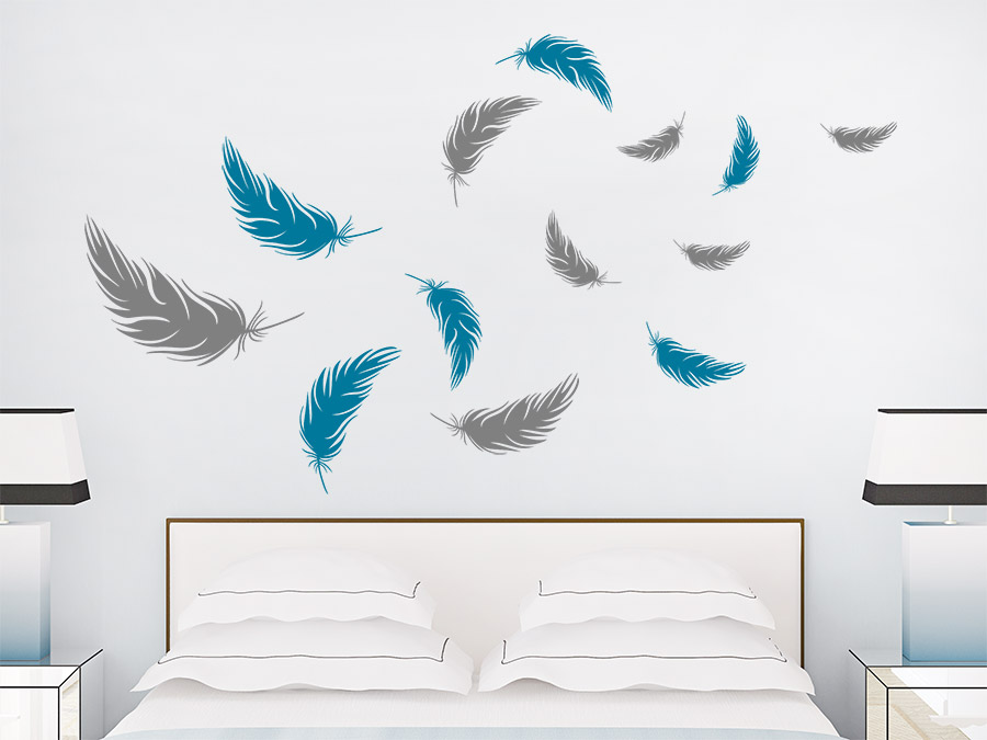 wandtattoo federn zweifarbiges set wandtattoo de. Black Bedroom Furniture Sets. Home Design Ideas