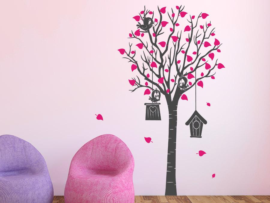 zweifarbiges wandtattoo baum mit vogelh usern bei. Black Bedroom Furniture Sets. Home Design Ideas