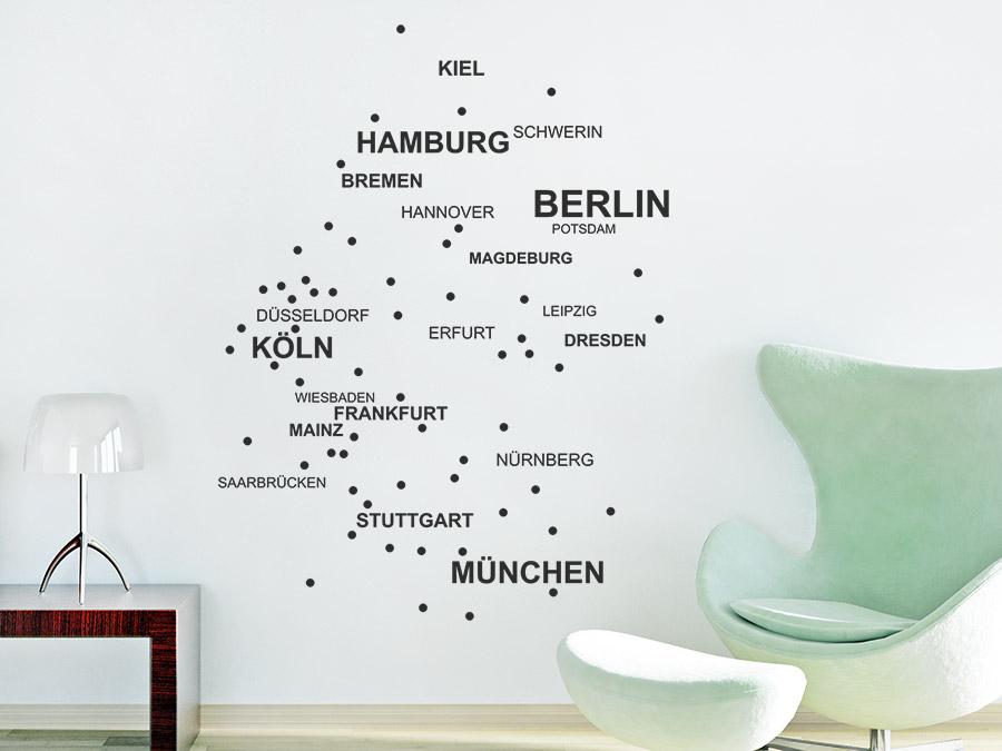 wandtattoo deutschlandkarte Wandtattoo Städte Deutschlandkarte Punkte | WANDTATTOO.DE