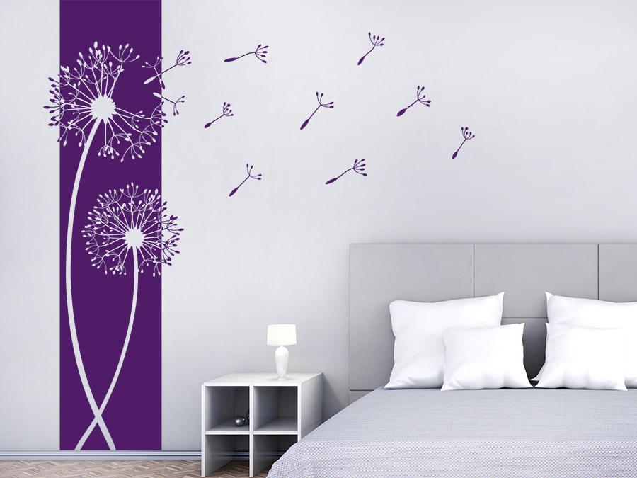 wandtattoo banner pusteblumen wandbanner wandtattoo de. Black Bedroom Furniture Sets. Home Design Ideas
