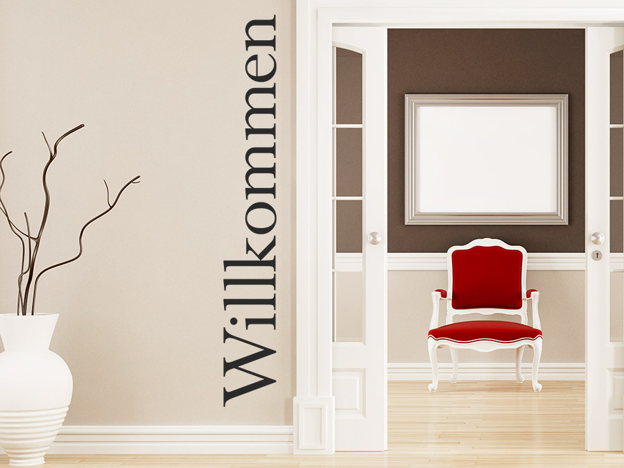 wandtattoo willkommen klassisch von. Black Bedroom Furniture Sets. Home Design Ideas
