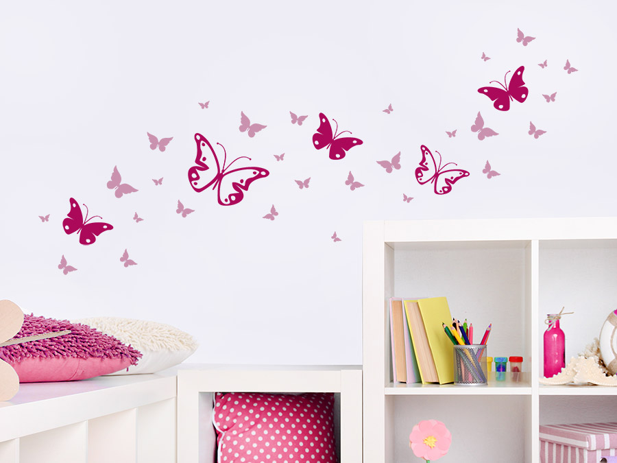 Wandtattoo zweifarbiges schmetterlinge set wandtattoo de - Kinderzimmer bilder set ...