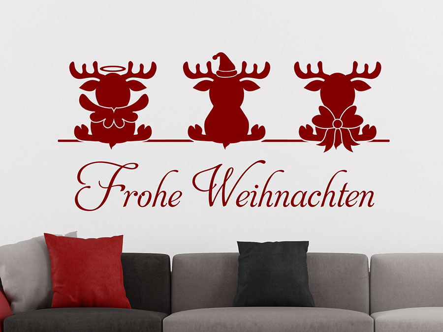 wandtattoo niedliche elche mit frohe weihnachten. Black Bedroom Furniture Sets. Home Design Ideas