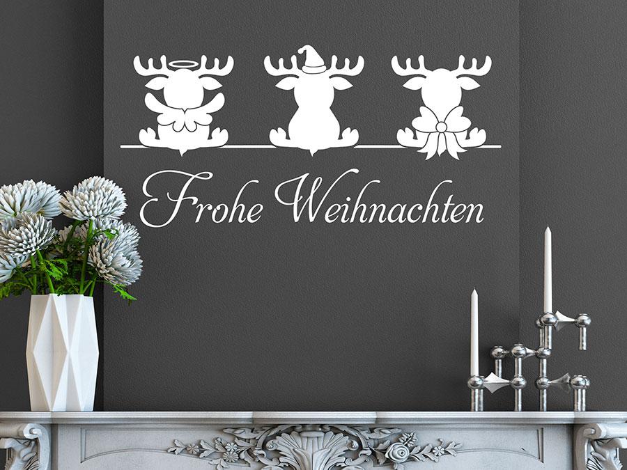 wandtattoo niedliche elche mit frohe weihnachten. Black Bedroom Furniture Sets. Home Design Ideas
