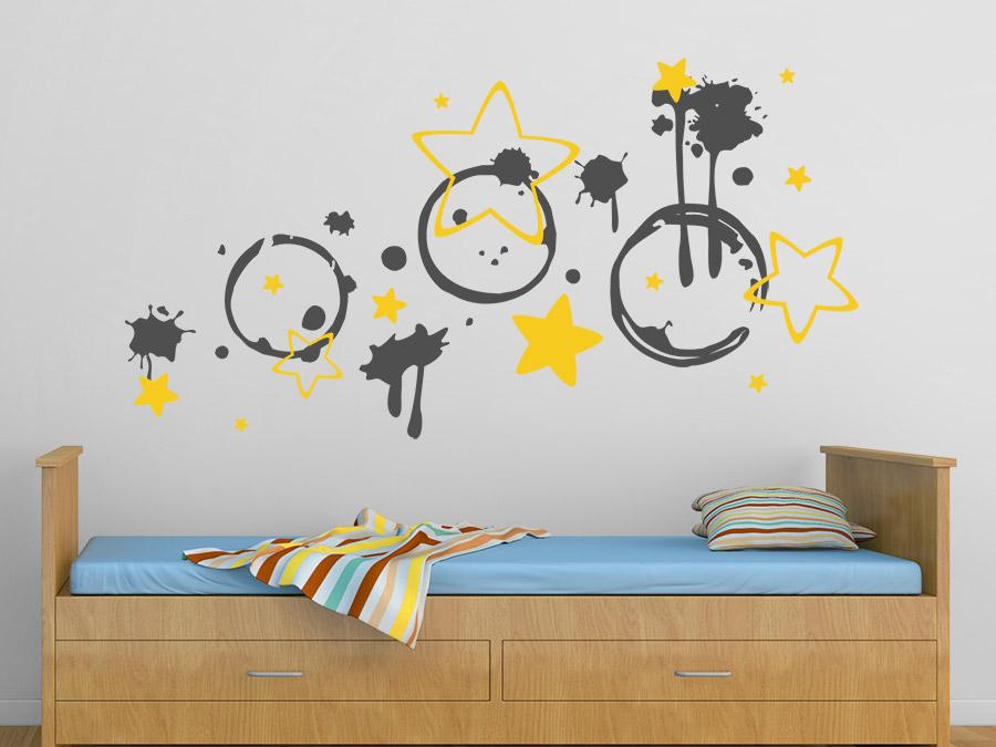 wandtattoo kleckse und sterne wandtattoo de. Black Bedroom Furniture Sets. Home Design Ideas