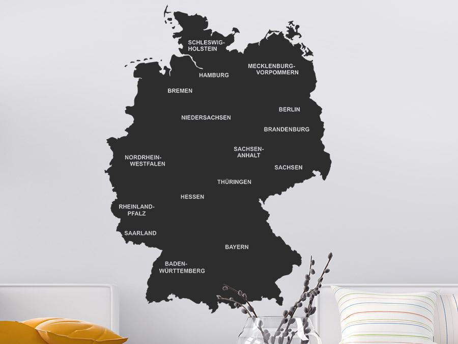 wandtattoo deutschlandkarte Wandtattoo Deutschlandkarte Bundesländer | WANDTATTOO.DE