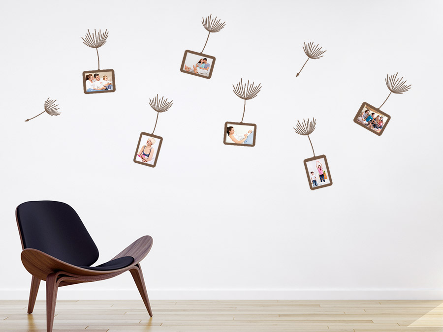 ... Fotorahmen Wandtattoo Pusteblume Zusatzrahmen Set Auf Heller Wandfläche