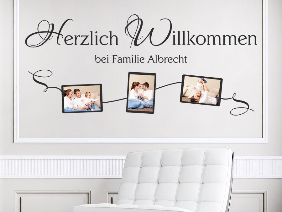 wandtattoo fotorahmen herzlich willkommen wandtattoo de. Black Bedroom Furniture Sets. Home Design Ideas