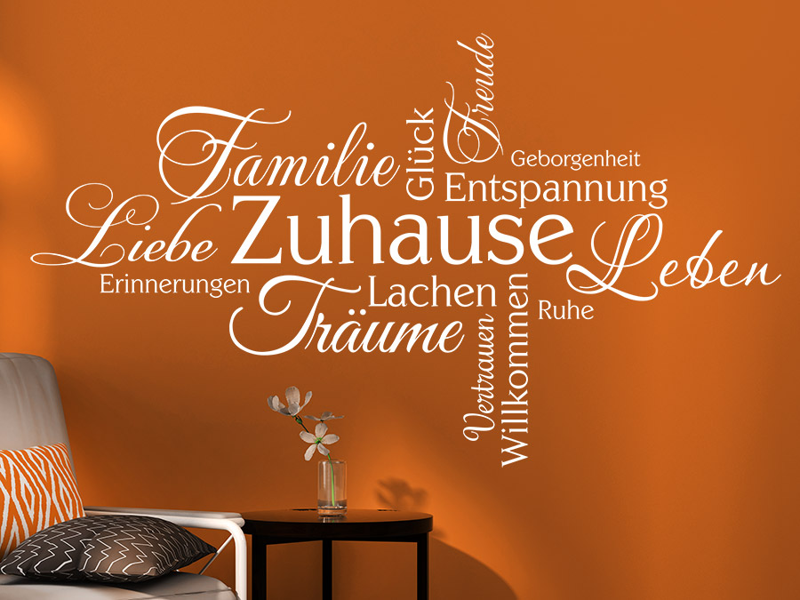 wandtattoo zuhause schriften wortwolke wandtattoo de. Black Bedroom Furniture Sets. Home Design Ideas