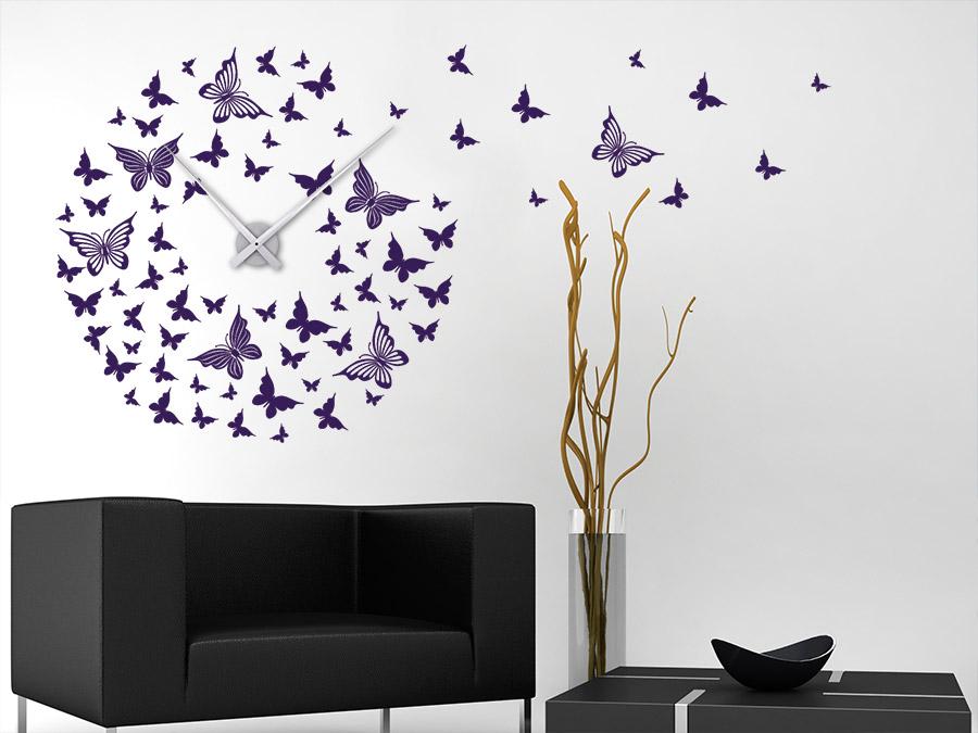 Wandtattoo Uhr Schmetterlinge Wanduhr | WANDTATTOO.DE