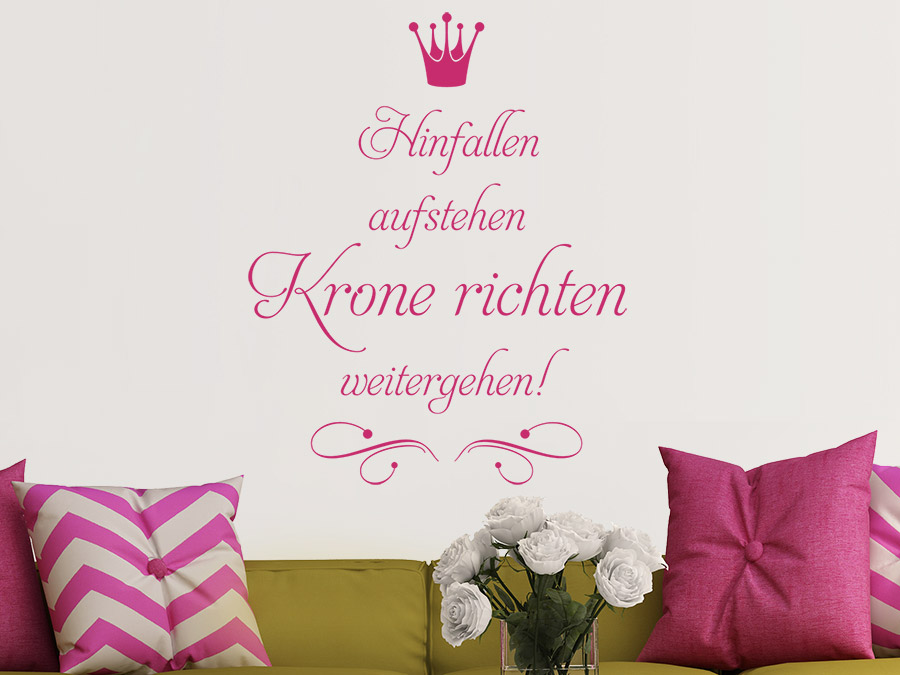 wandtattoo hinfallen aufstehen krone richten wandtattoo de. Black Bedroom Furniture Sets. Home Design Ideas