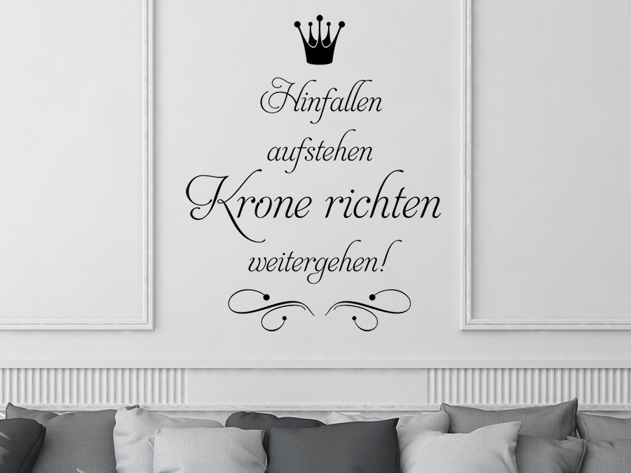 wandtattoo hinfallen aufstehen krone richten. Black Bedroom Furniture Sets. Home Design Ideas