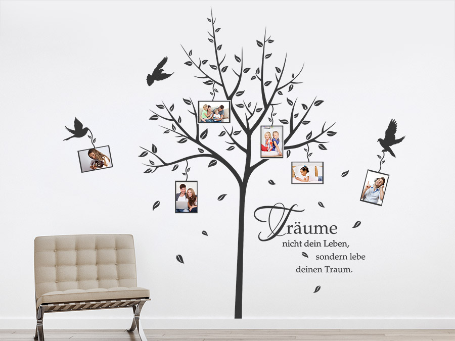 Wandtattoo fotobaum tr ume mit fotorahmen wandtattoo de for Baum an die wand malen