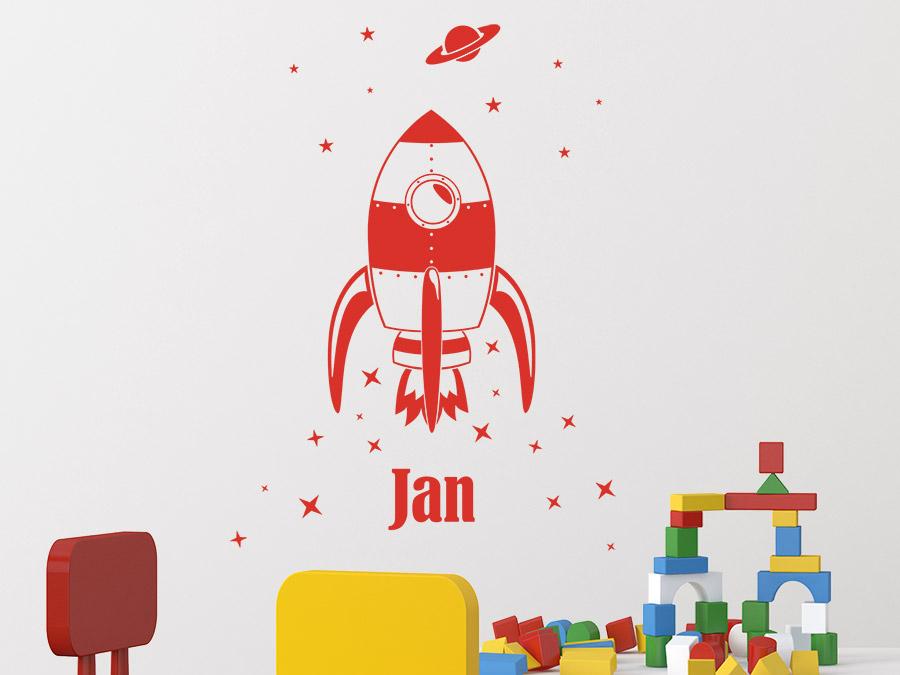 ... Kinderzimmer In Dunkelgrau Raketen Wandtattoo Mit Wunschname In Rot