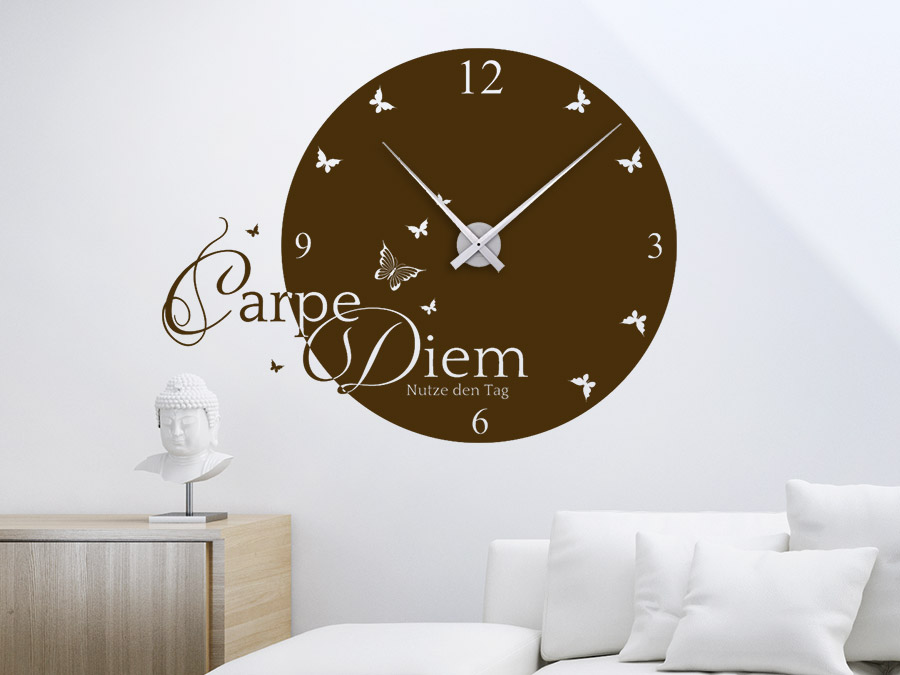 wandtattoo uhr carpe diem wanduhren wandtattoo de. Black Bedroom Furniture Sets. Home Design Ideas