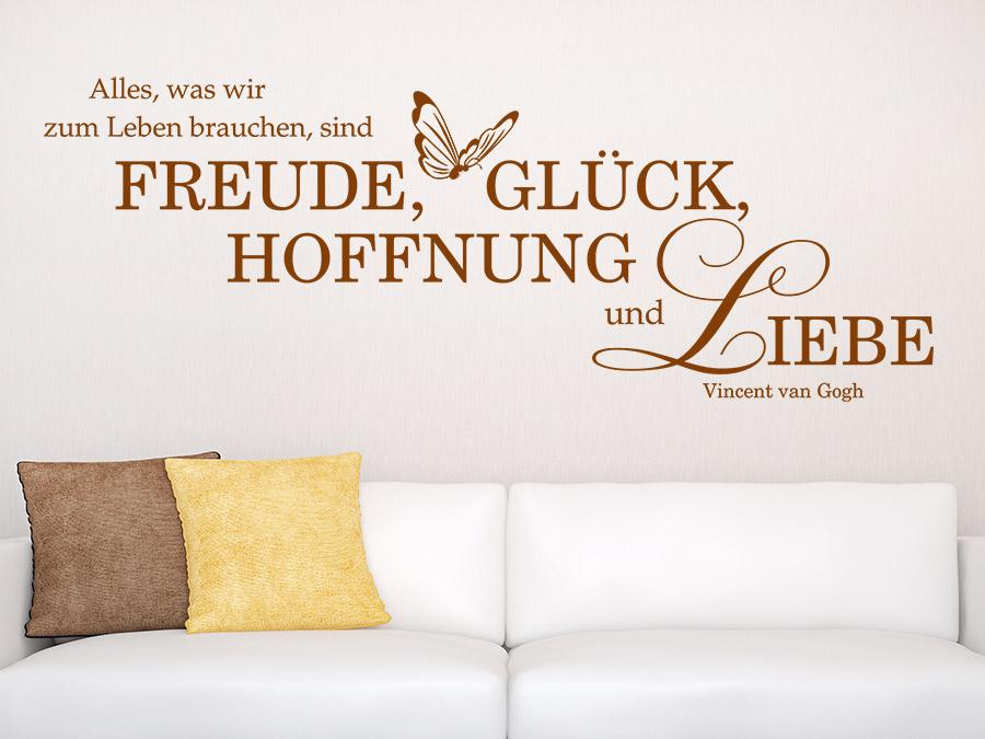 Wandtattoo Freude Glück Hoffnung Liebe von Wandtattoo.de