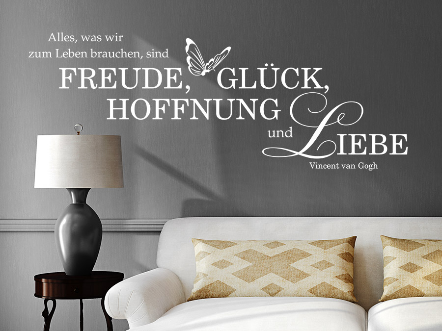 wandtattoo freude gl ck hoffnung liebe von. Black Bedroom Furniture Sets. Home Design Ideas