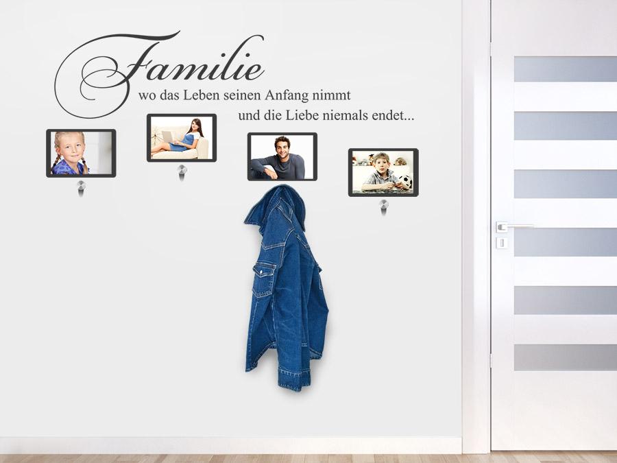 Garderobe Familie mit Fotorahmen