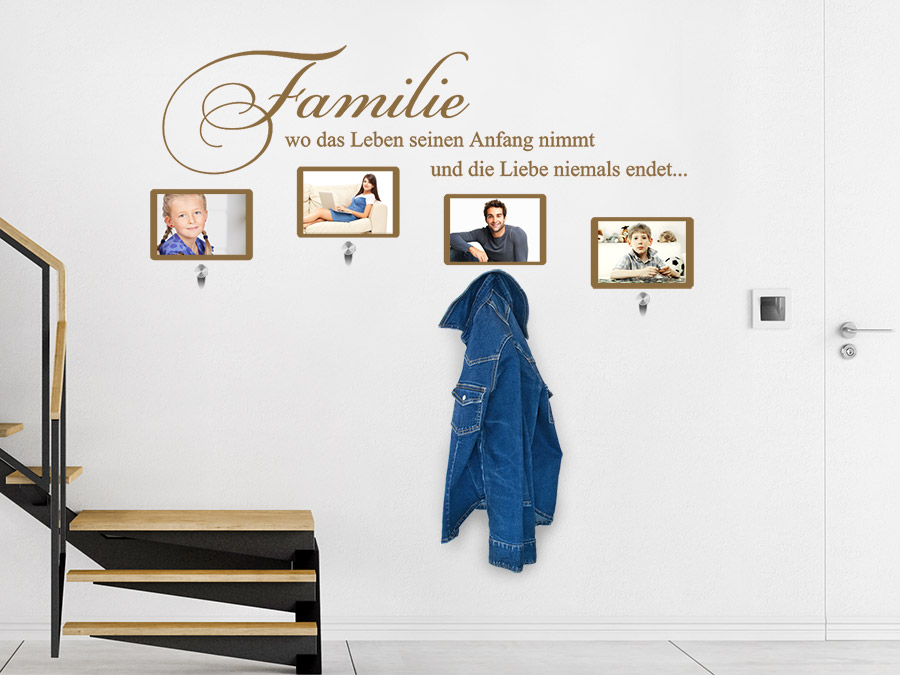 wandtattoo garderobe familie mit fotorahmen wandtattoo de. Black Bedroom Furniture Sets. Home Design Ideas