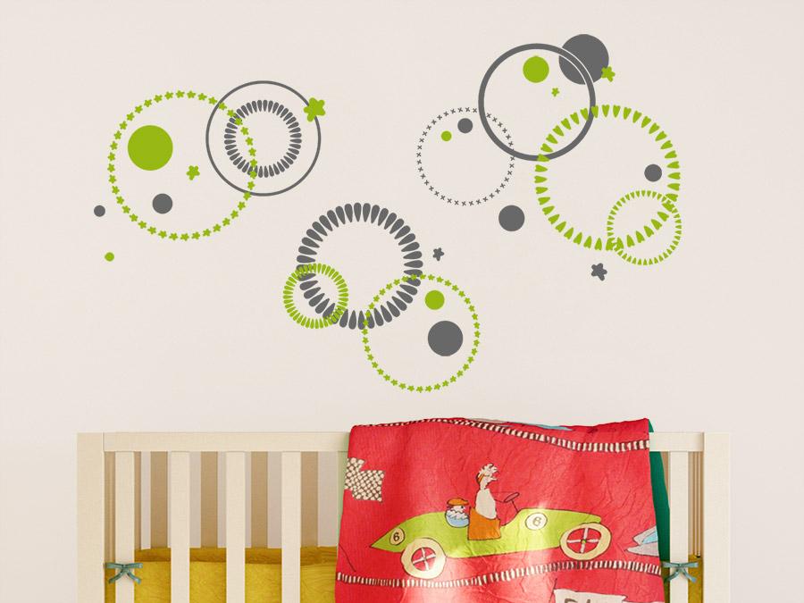 ... Zweifarbiges Wandtattoo Kreise Ornament über Dem Kinderbett