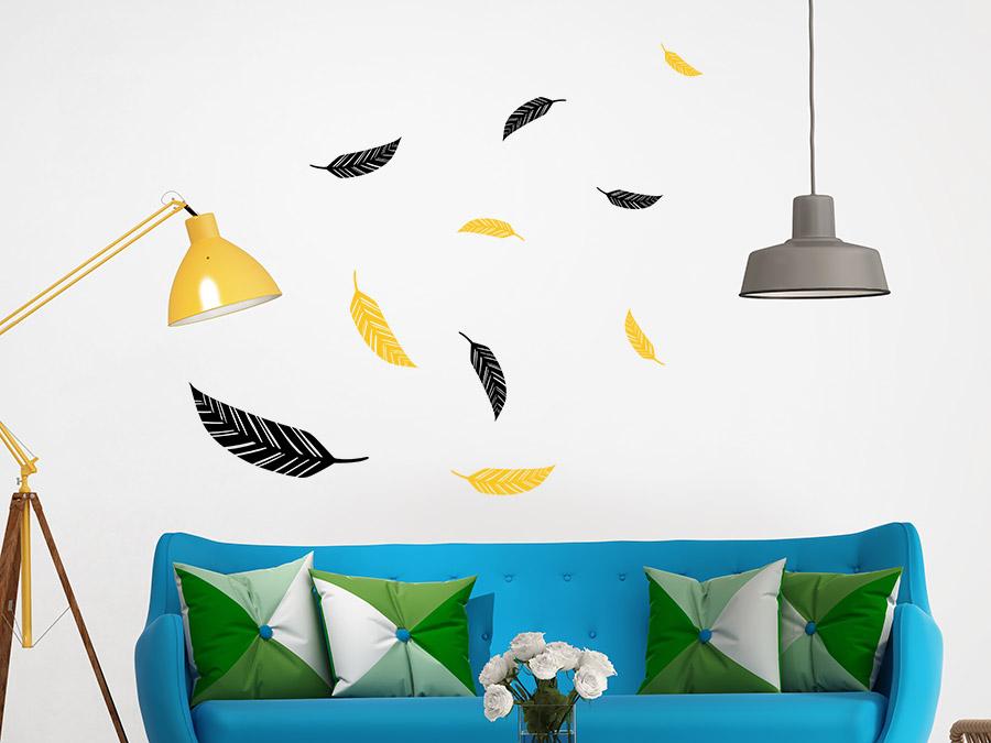 wandtattoo abstrakte federn zweifarbig wandtattoo de. Black Bedroom Furniture Sets. Home Design Ideas