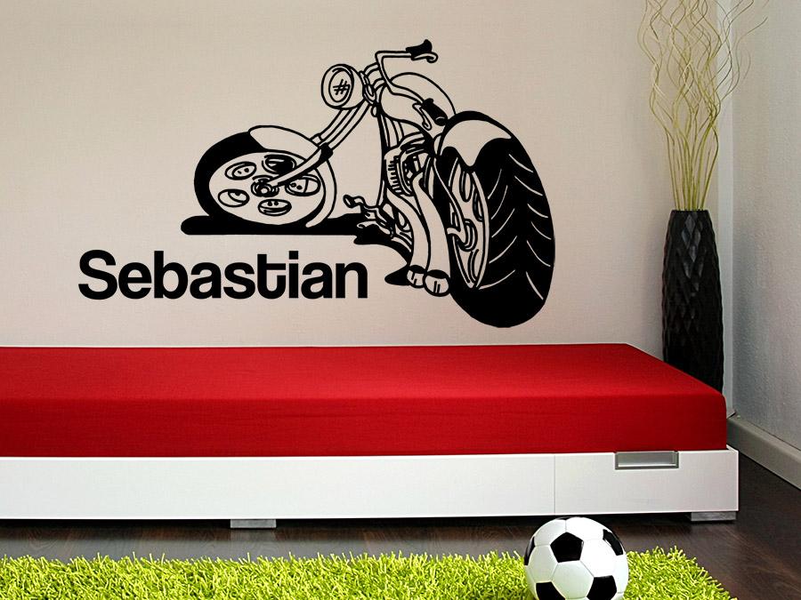 wandtattoo cooles motorrad mit name wandtattoo de. Black Bedroom Furniture Sets. Home Design Ideas