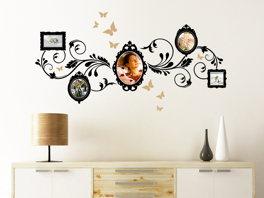wandtattoo ornament mit fotorahmen wandtattoo de. Black Bedroom Furniture Sets. Home Design Ideas