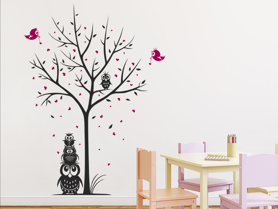 wandtattoo baum mit eulenfamilie f r kinder bei. Black Bedroom Furniture Sets. Home Design Ideas
