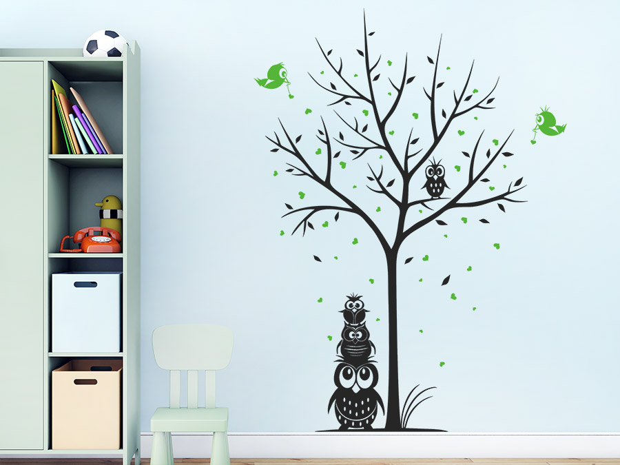 wandtattoo baum mit eulen und herzen wandtattoo de. Black Bedroom Furniture Sets. Home Design Ideas