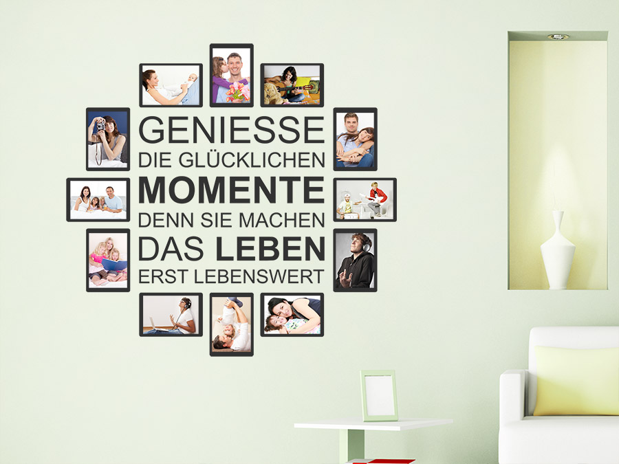 Wandtattoo Fotorahmen Glückliche Momente | WANDTATTOO.DE
