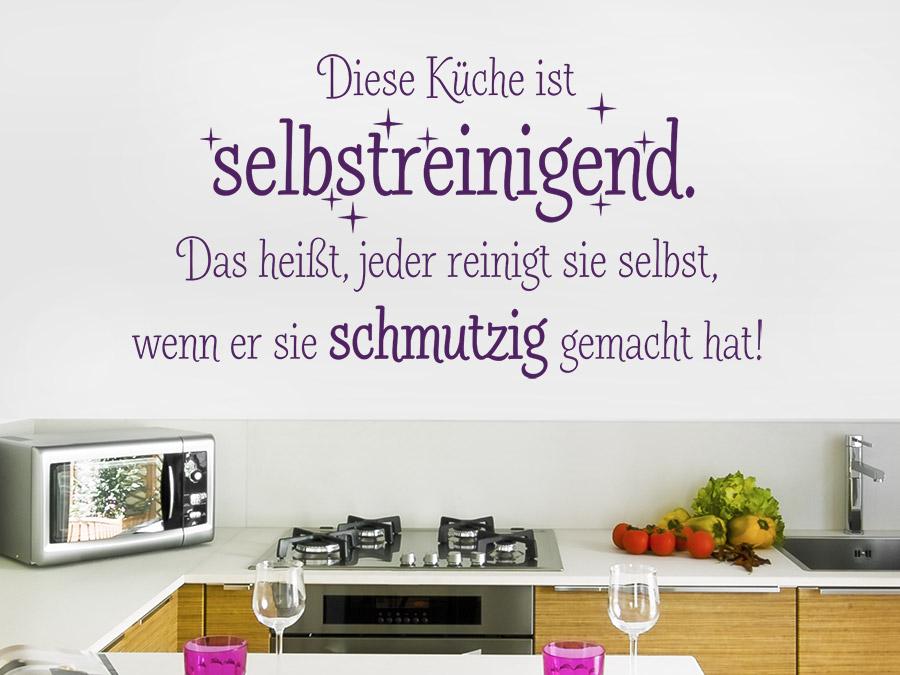 Wandtattoo Diese Küche ist selbstreinigend | WANDTATTOO.DE