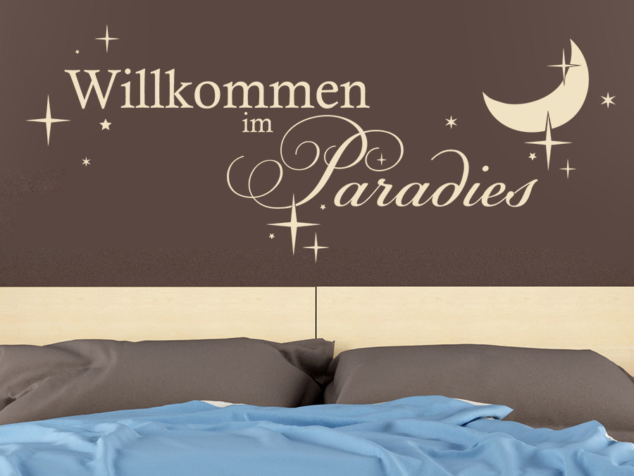 wandtattoo willkommen im paradies mit sterne wandtattoo de. Black Bedroom Furniture Sets. Home Design Ideas