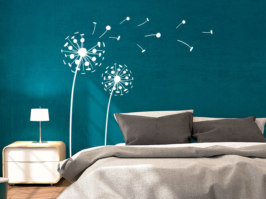 Wandtattoo 3D Pusteblumen Wandtattoo Pusteblumen 3D Im Schlafzimmer In Weiß  ...