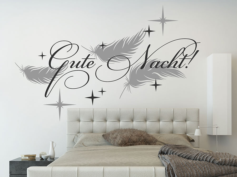 wandtattoo gute nacht mit federn und sternen wandtattoo de. Black Bedroom Furniture Sets. Home Design Ideas