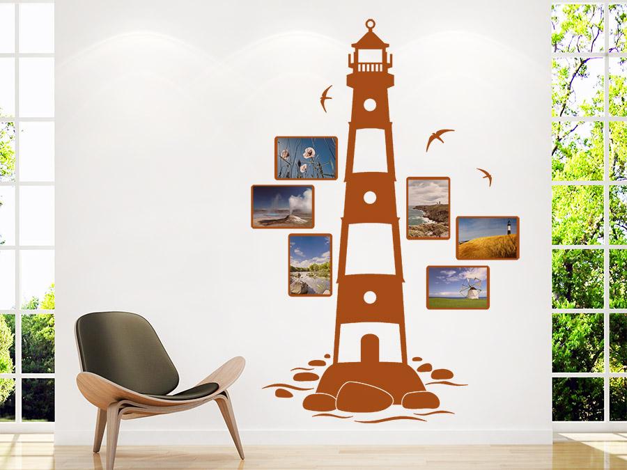 Wandtattoo Fotorahmen Leuchtturm mit Bilderrahmen | WANDTATTOO.DE