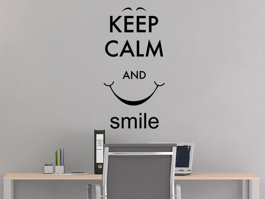 wandtattoo keep calm and smile von. Black Bedroom Furniture Sets. Home Design Ideas