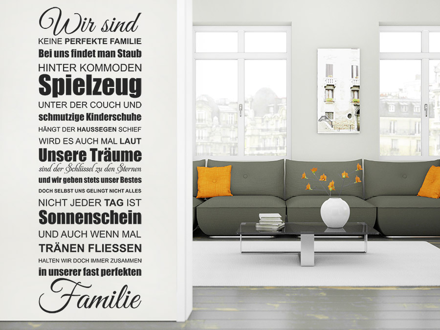 wandtattoo eine fast perfekte familie spruchband. Black Bedroom Furniture Sets. Home Design Ideas