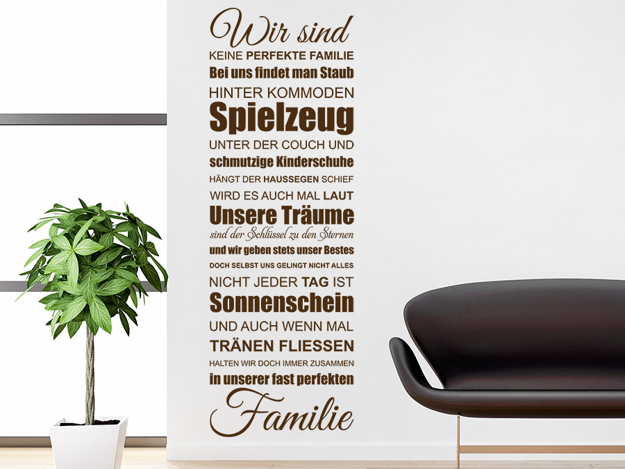 wandtattoo in unserer fast perfekten familie spruch banner. Black Bedroom Furniture Sets. Home Design Ideas