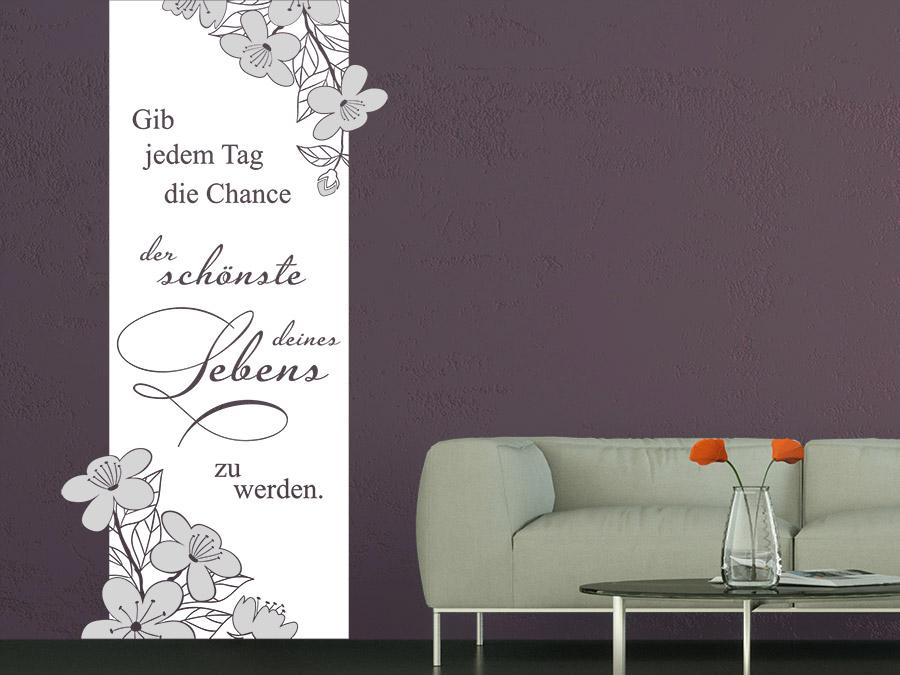 ... Wandtattoo Banner Gib Jedem Tag... Im Wohnzimmer In Türkis Und Weiß ...