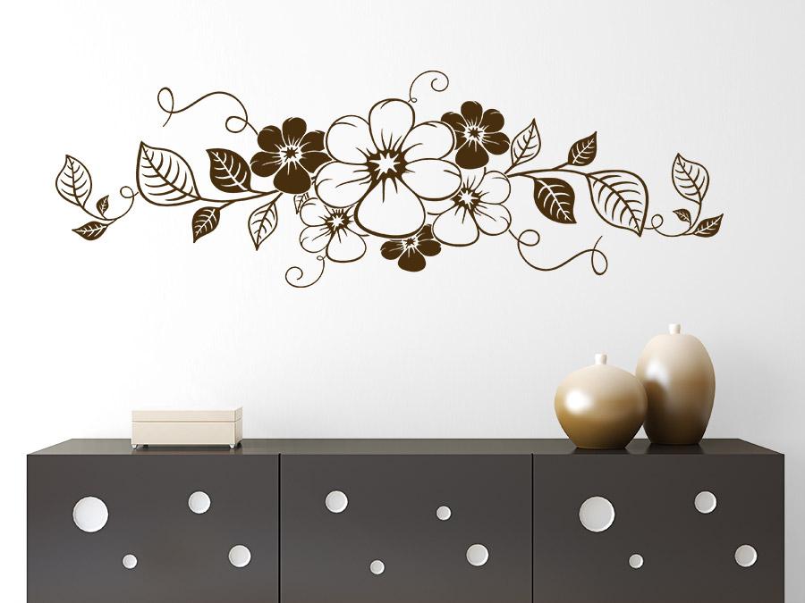 Wandtattoo Silber Blumen : Wandtattoo Blumenornament von Wandtattoode