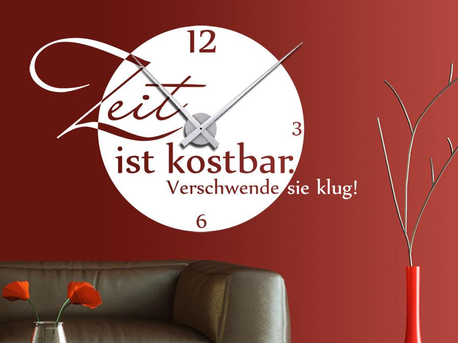 Wandtattoo Uhr Zeit ist kostbarbei Wandtattoo.de