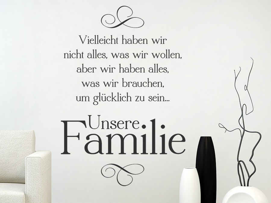 wandtattoo unsere familie familienweisheit wandtattoo de. Black Bedroom Furniture Sets. Home Design Ideas