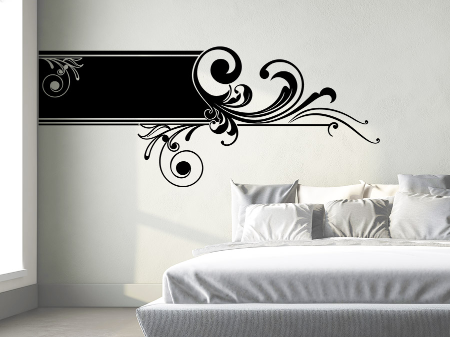 wandbanner ornament wandtattoo horizontal xxl wandtattoo de. Black Bedroom Furniture Sets. Home Design Ideas