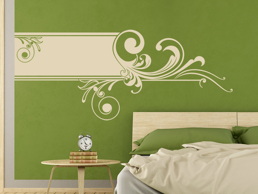 wandbanner ornament wandtattoo horizontal xxl wandtattoo de. Black Bedroom Furniture Sets. Home Design Ideas