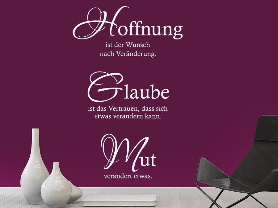 wandtattoo hoffnung glaube mut spruch von. Black Bedroom Furniture Sets. Home Design Ideas