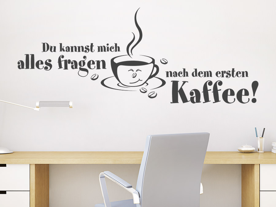 wandtattoo nach dem ersten kaffee wandtattoo de. Black Bedroom Furniture Sets. Home Design Ideas